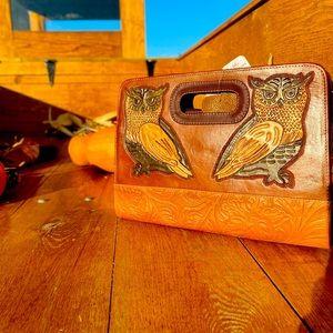 Lucy owl handmade leather clutch crossbody bag